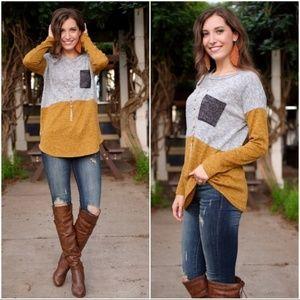 Long Sleeve Color Block Mustard-Gray Soft Tunic